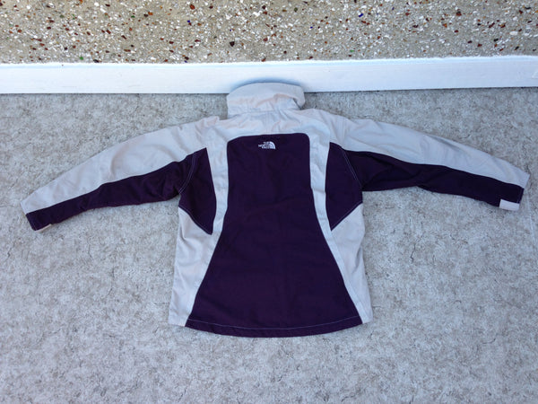 Winter Coat Ladies Size Large The North Face Grey Purple With Snow Belt Excellent