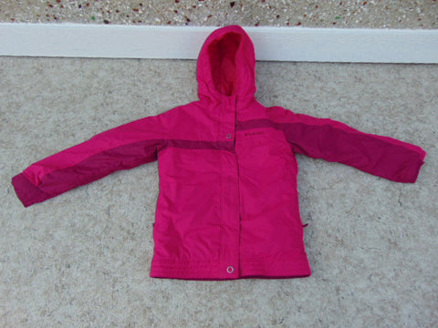 Winter Coat Child Size 10-12 Columbia Fushia With Snow Belt Snowboarding Excellent
