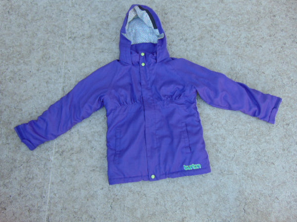 Winter Coat Child Size 10-12 Burton Purple Lime With Snow Belt Snowboarding Excellent