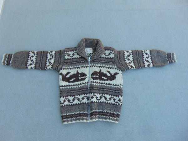 Winter Coat Ladies Size Large Vintage Cowichan Indian Sweater Whales Genuine Hand Spun Wool With Registration Number Excellent RARE