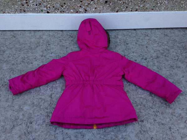 Winter Coat Child Size 5-6 Lands End Parka Fushia Cream With faux Fur New Demo Model