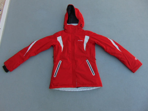 Winter Coat Ladies Size X Small Columbia Omni Heat Snowboarding With Snow Belt Red White Excellent