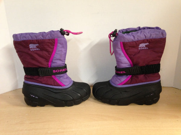 Winter Boots Child Size 13 Sorel Pink Fushia With Liner Excellent
