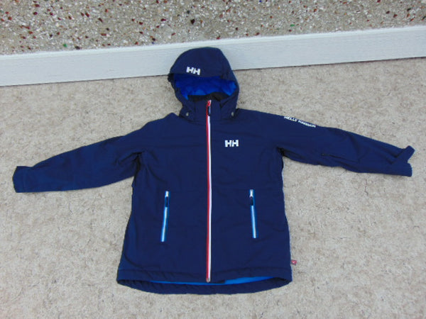 Winter Coat Child Size 12 Helly Hansen Snowboarding With Snow Belt Marine Blue Red Excellent Quality