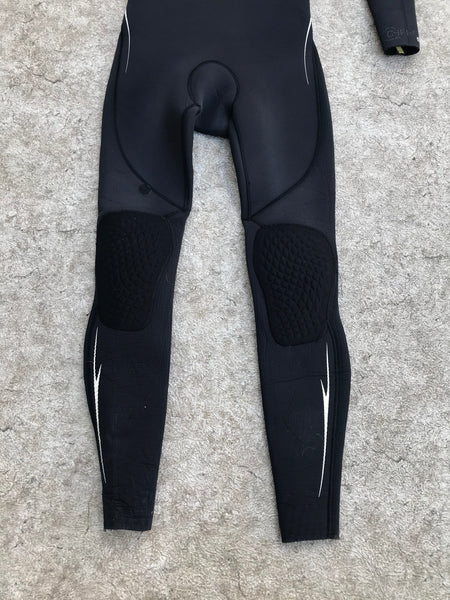 Wetsuit Men's Ladies Full Medium Quicksilver Dry Lock With Hood 5.4 mm Black With Patches Works Great