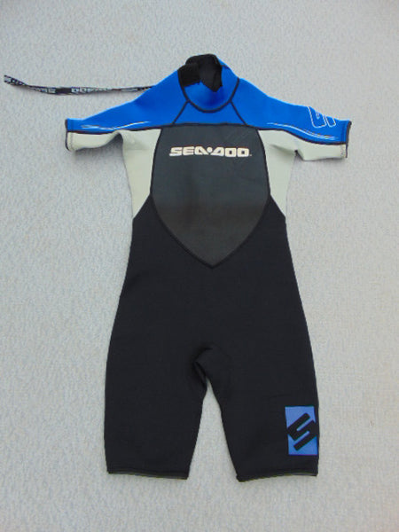 Wetsuit Child Size 12 Sea Doo Black Blue Grey Neoprene 2-3 mm New Demo Model