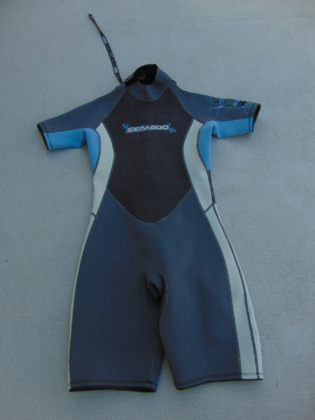 Wetsuit Ladies Size 11-12 Sea Doo Neoprene 2-3mm Grey Blue Some Sun Wear