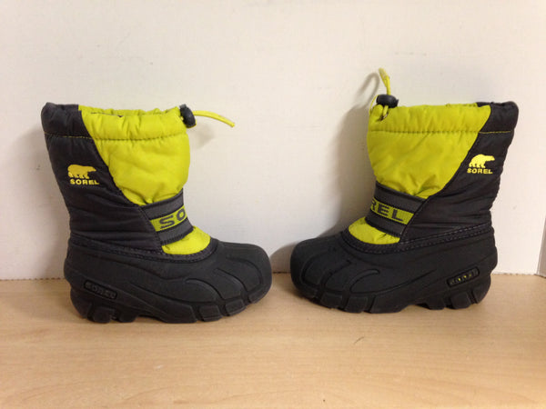 Winter Boots Child Size 10 Sorel Lime Grey with Liners