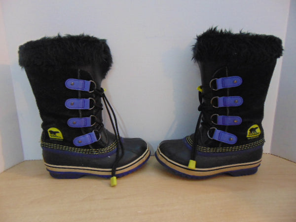 Winter Boots Child Size 1 Sorel Black Purple Faux Fur