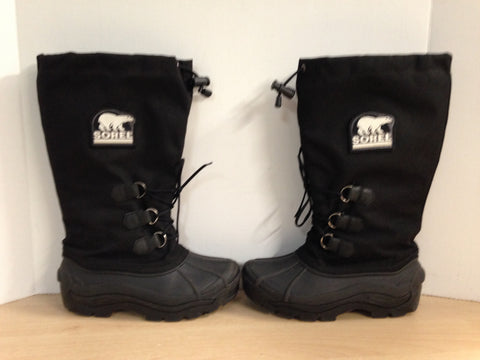 Winter Boots Ladies Size 7 Sorel Black With Liner Excellent