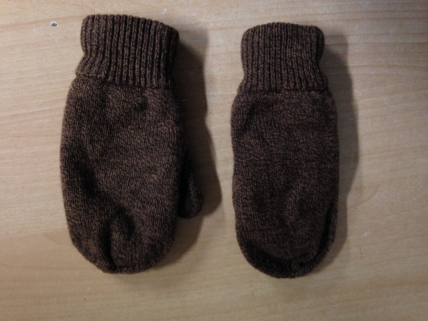 Winter Gloves and Mitts Child Size 8-10 Knit and Suade Brown Excellent