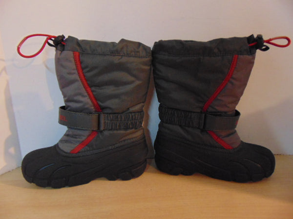 Winter Boots Child Size 13 Sorel Grey Red With Liner  Excellent