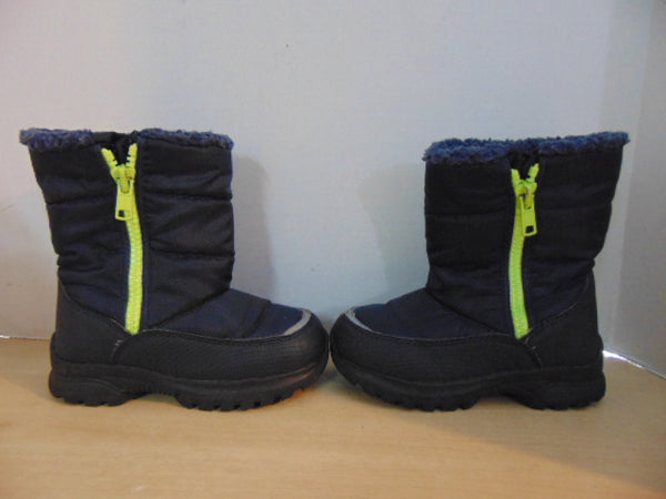 Winter Boots Child Size 13 With Side Zippers Navy and Lime