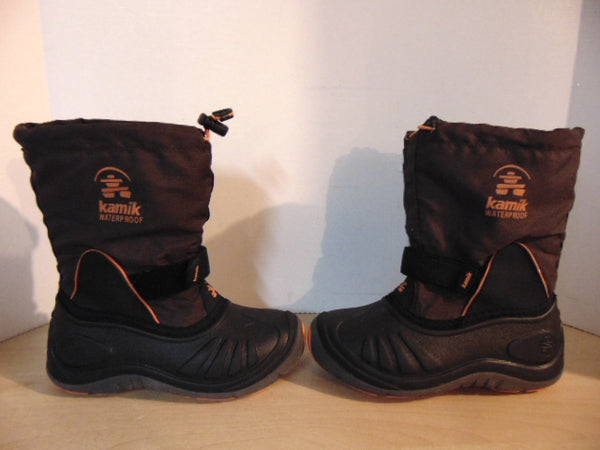 Winter Boots Child Size 1 Kamik Brown and Orange With Liner  Excellent