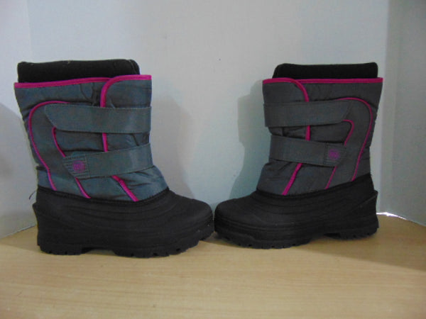 Winter Boots Child Size 3 Black Grey Pink With Liners
