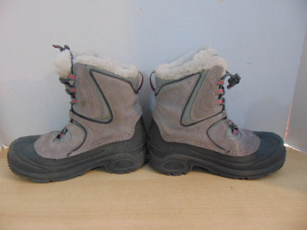 Winter Boots Child Size 3 Columbia Hiking Grey Pink Excellent