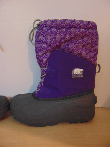 Winter Boots Child Size 3 Sorel Purple Grey With Liner  Excellent