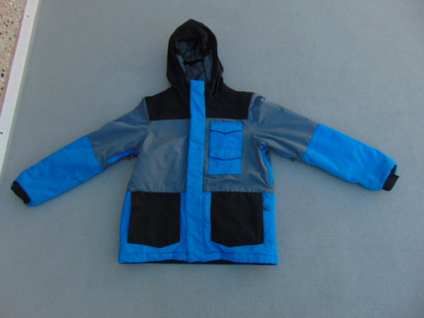 Winter Coat Child Size 10-12 Firefly Grey Black Blue Minor Wear