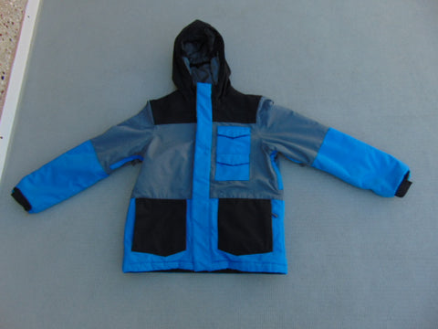 Winter Coat Child Size 10-12 Firefly Grey Black Blue With Snow Belt