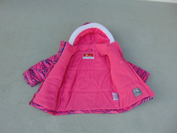 Winter Coat Child Size 24 Month Kricket Fushia Pink and Denim Blue Fleece Lined Mint Condition