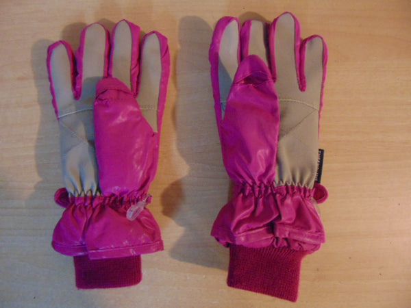 Winter Gloves and Mitts Child Size 10-14 Fushia Grey Excellent