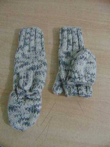 Winter Gloves and Mitts Child Size 12-14 No Finger Or Covered Knit Grey Cream