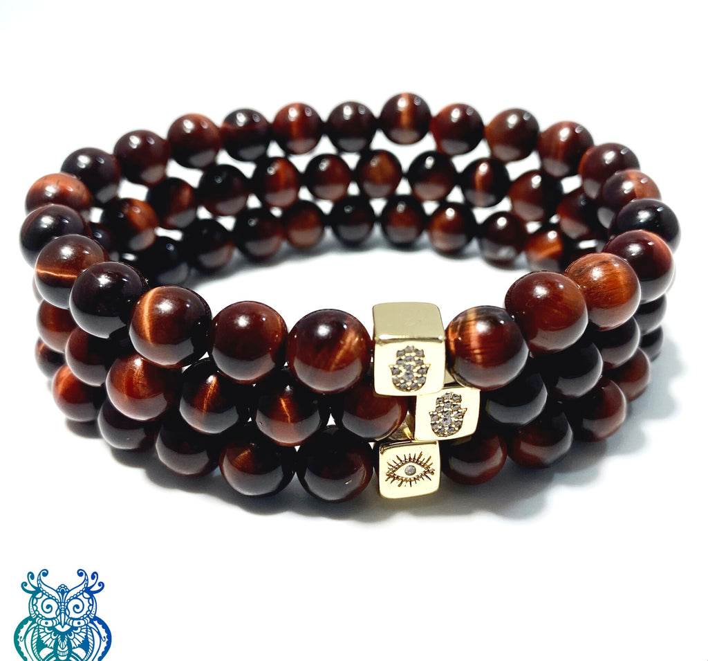 Red Tigers Eye (South Africa) Grounding Bracelet