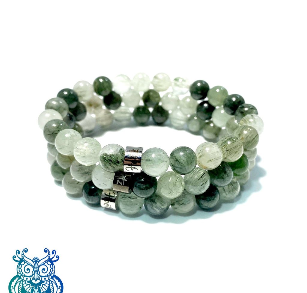 Bead Bracelet GREEN RUTILE QUARTZ - Meditation