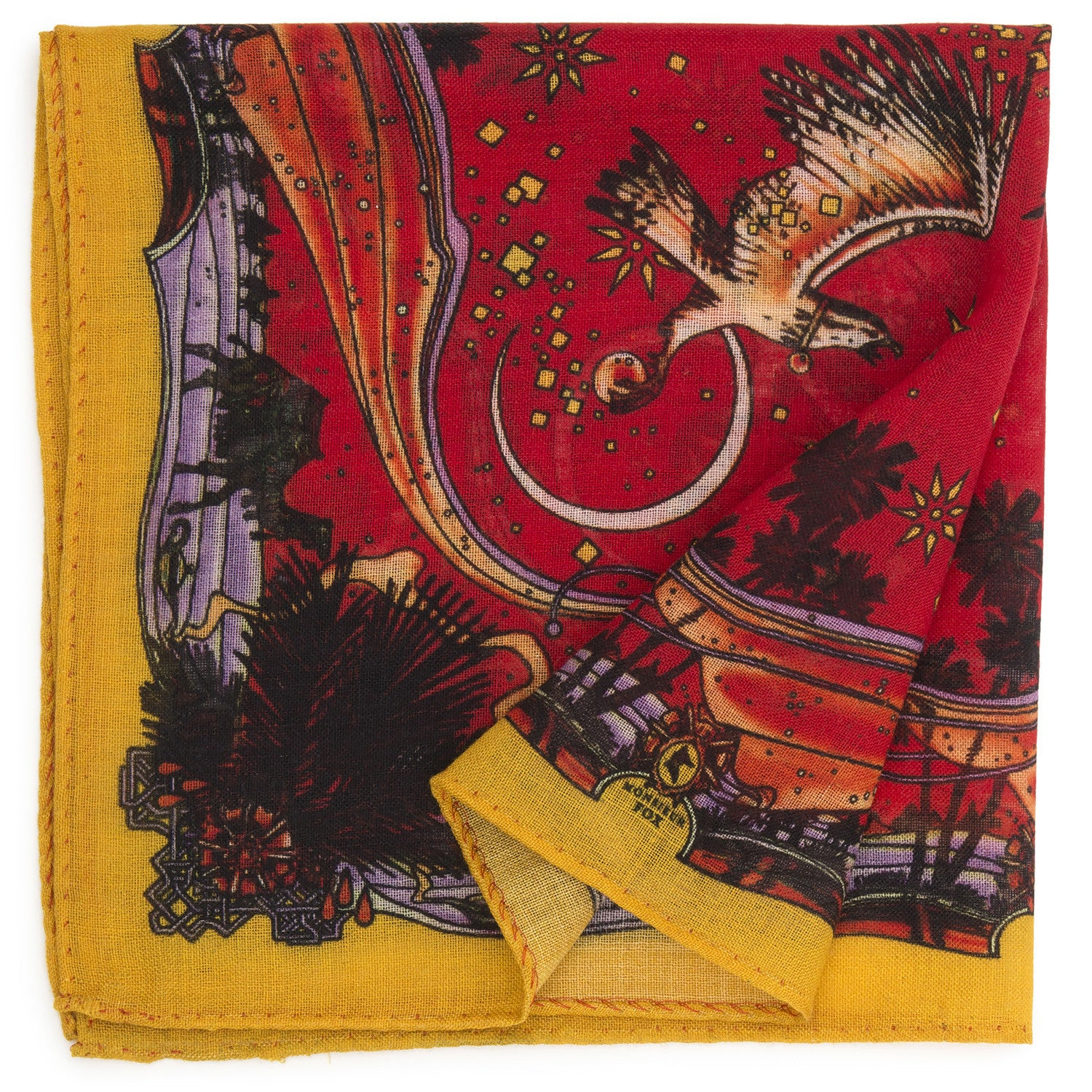 Falcons Pocket Square - Red and Yellow
