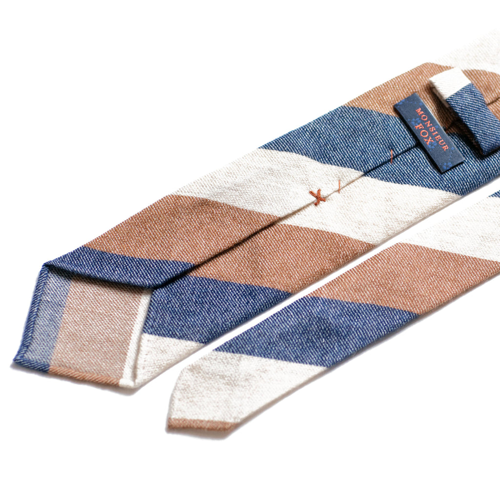 Cashmere Block Stripe Tie - Blue, Brown, Cream