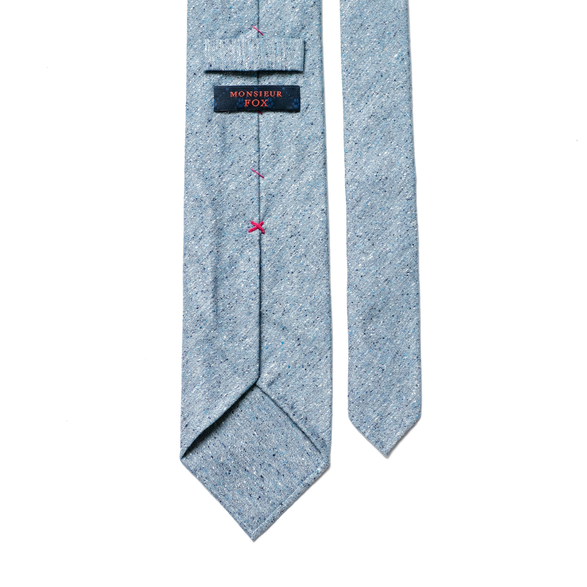 Light Blue Speckled Silk and Cotton Tie