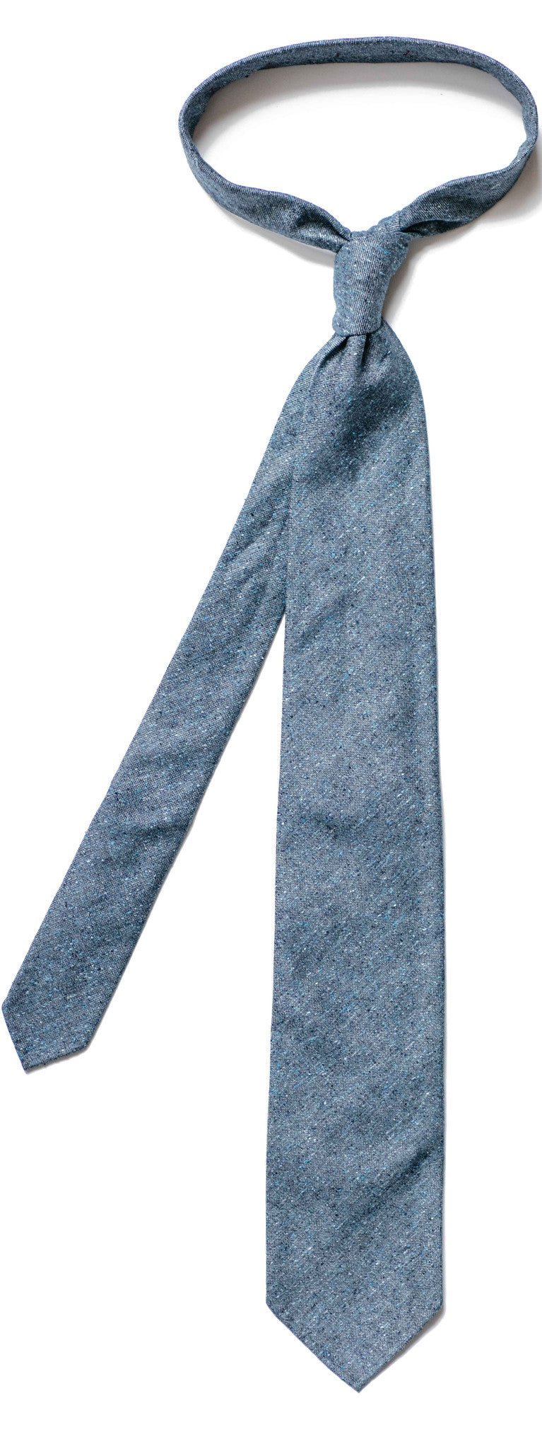 Speckled Dark Blue Silk and Cotton Tie