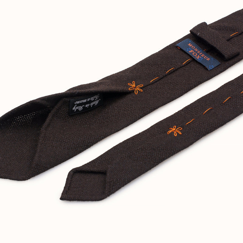 Brown Wool Tie - Subtle Stripe