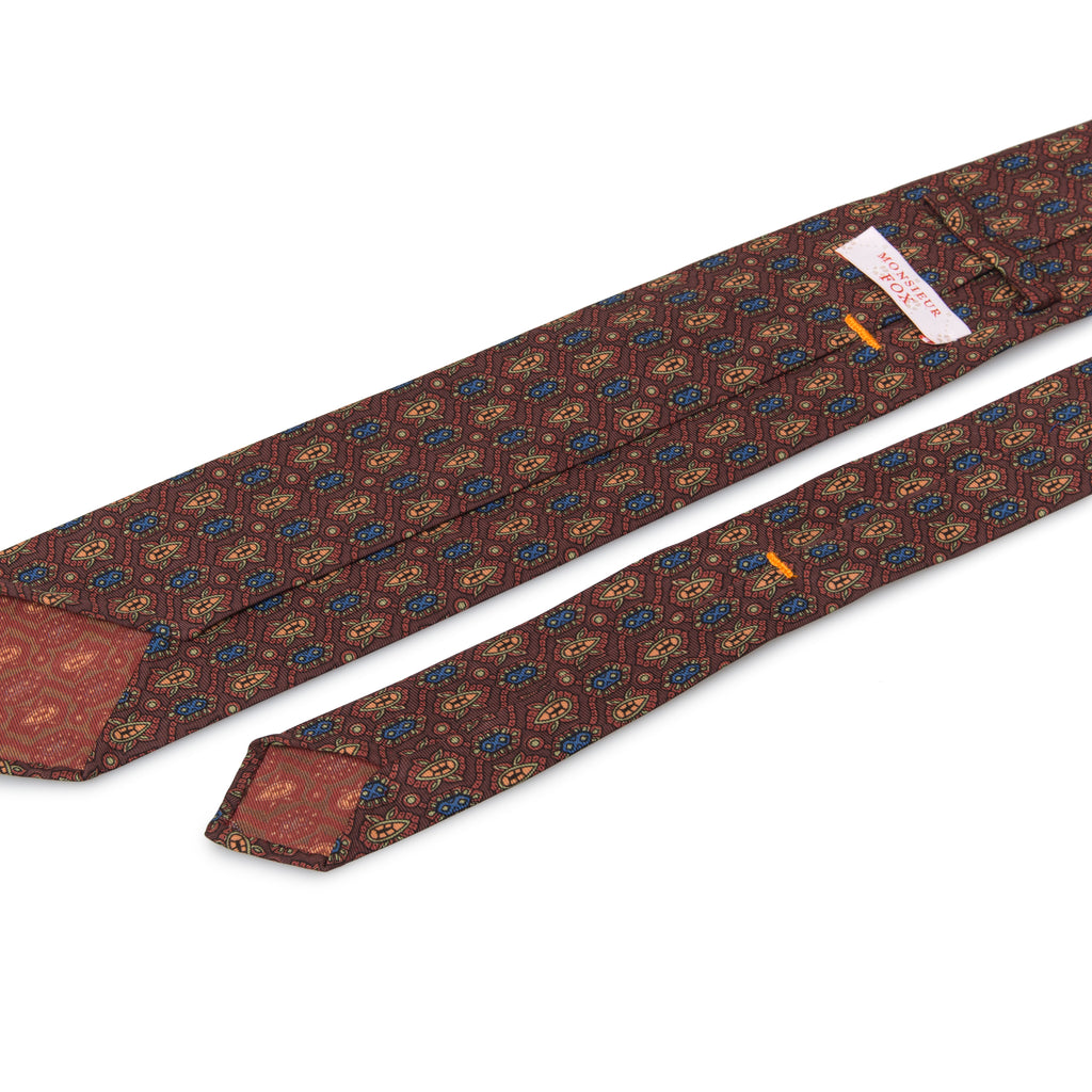 Artisan Silk Tie - Burgundy with Blue + Orange Florets