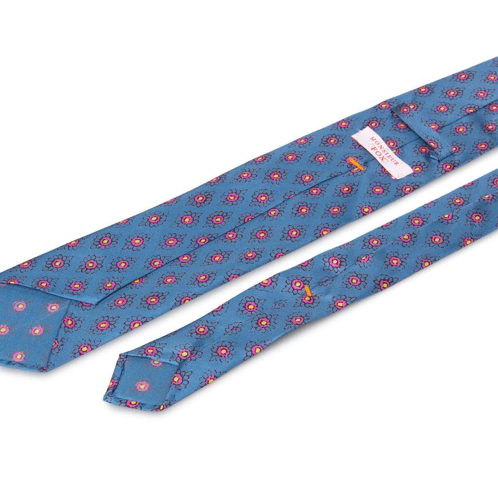 Artisan Silk Tie - French Blue with Rose Florets