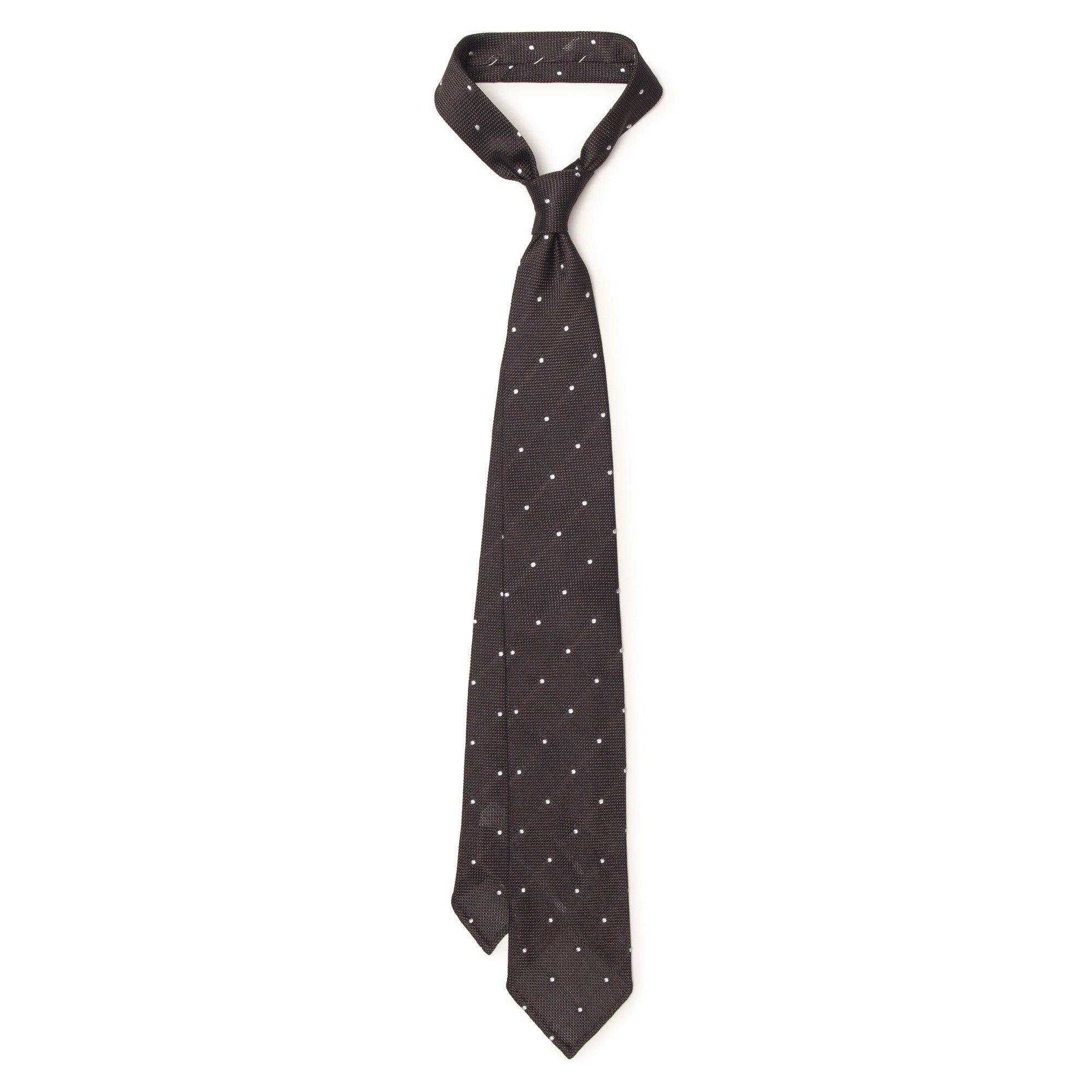 Pin Dot Grenadine Tie - White on Brown
