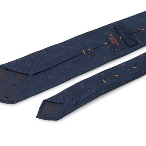 Pin Dot Grenadine Tie - Brown on Dark Navy