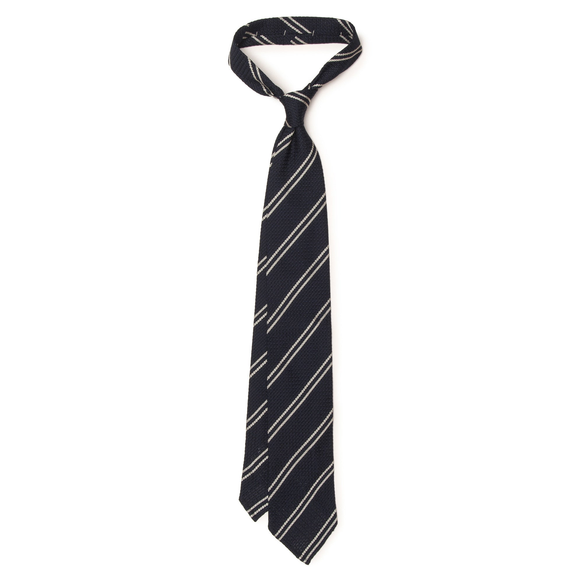 Double Stripe Grenadine Tie - White on Dark Navy