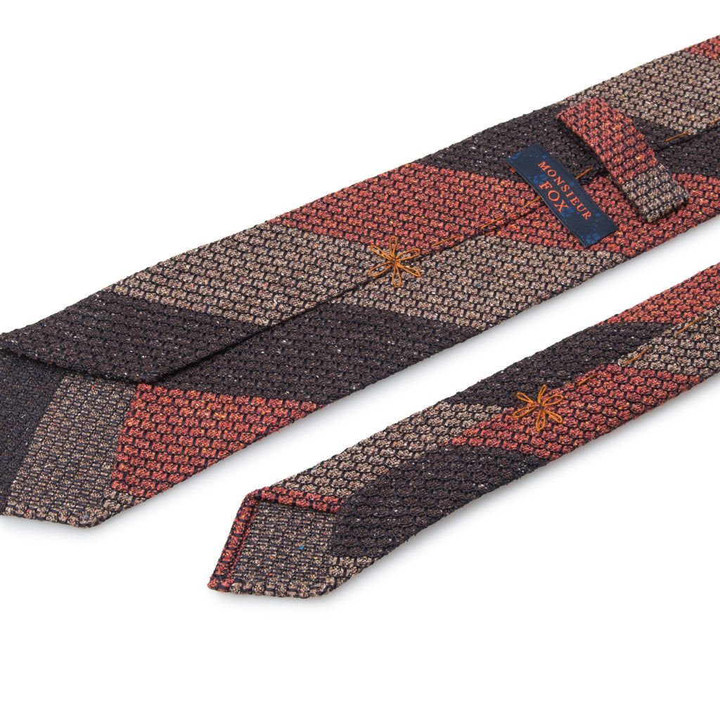 Block Stripe Grenadine Tie - Red, Brown & Grey
