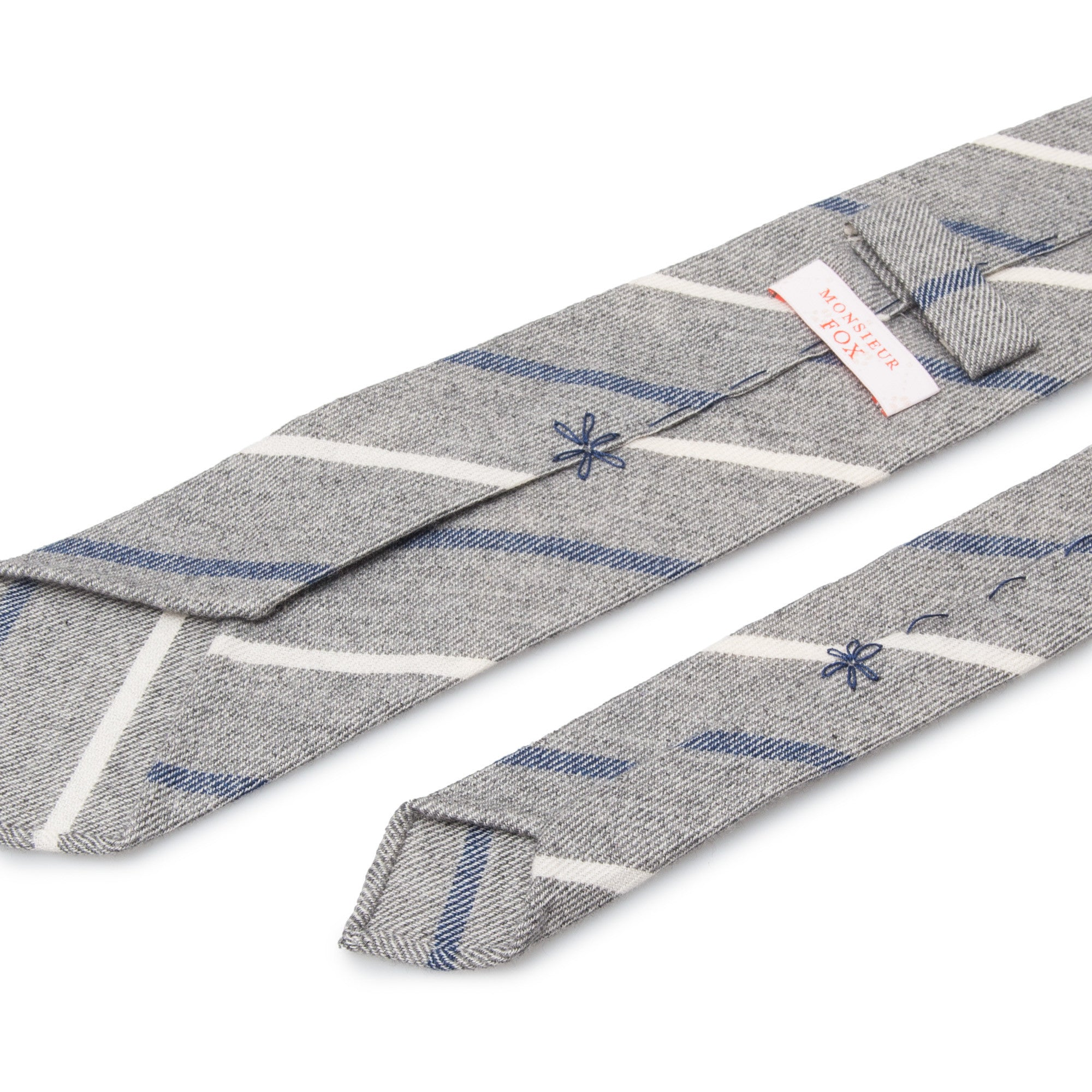 Striped Cashmere Tie - White and Blue on Light Grey
