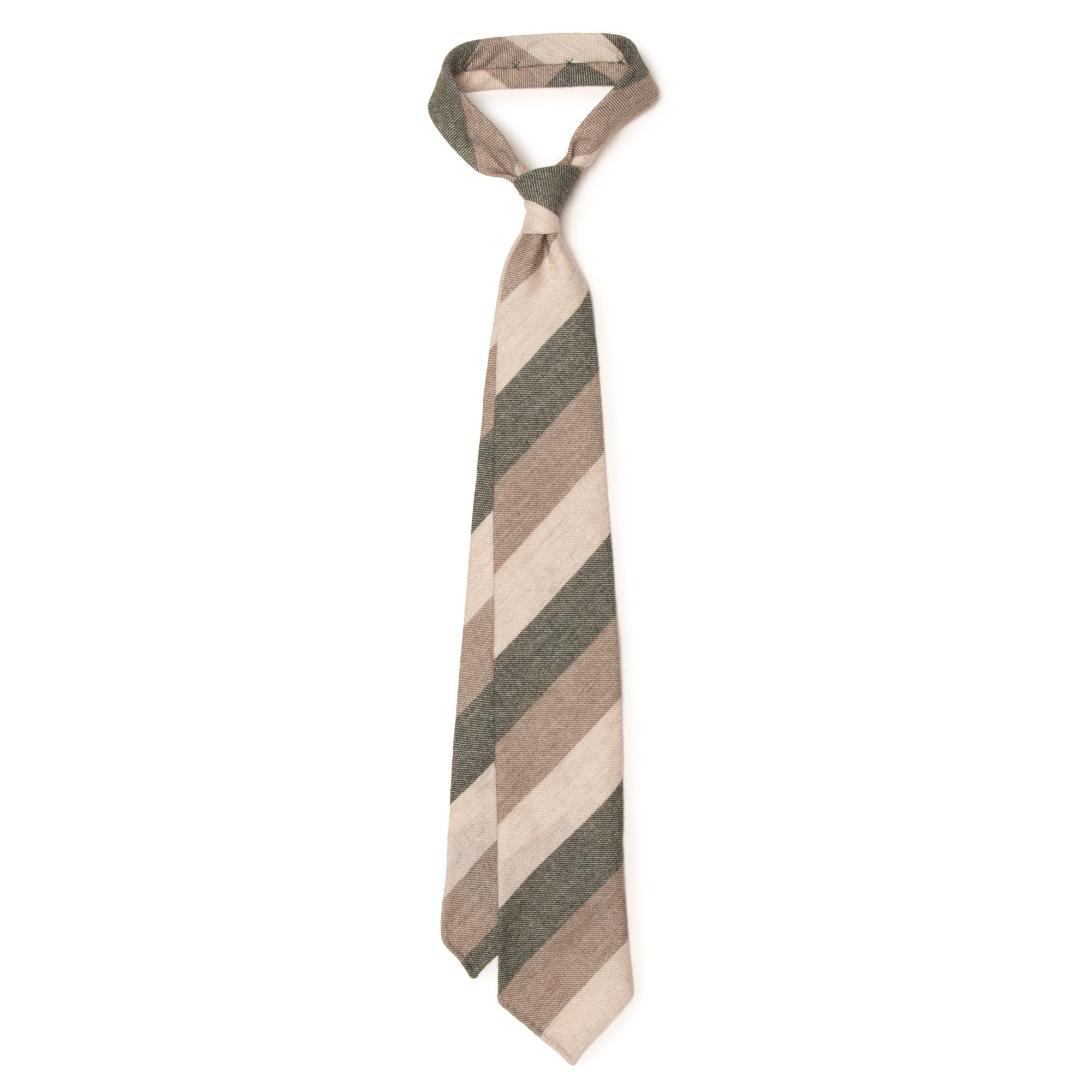 Cashmere Block Stripe Tie - Green, Brown, Cream