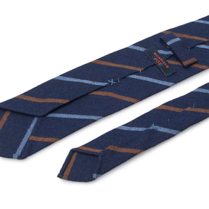 Striped Cashmere Tie - Light Blue and Brown on Dark Navy