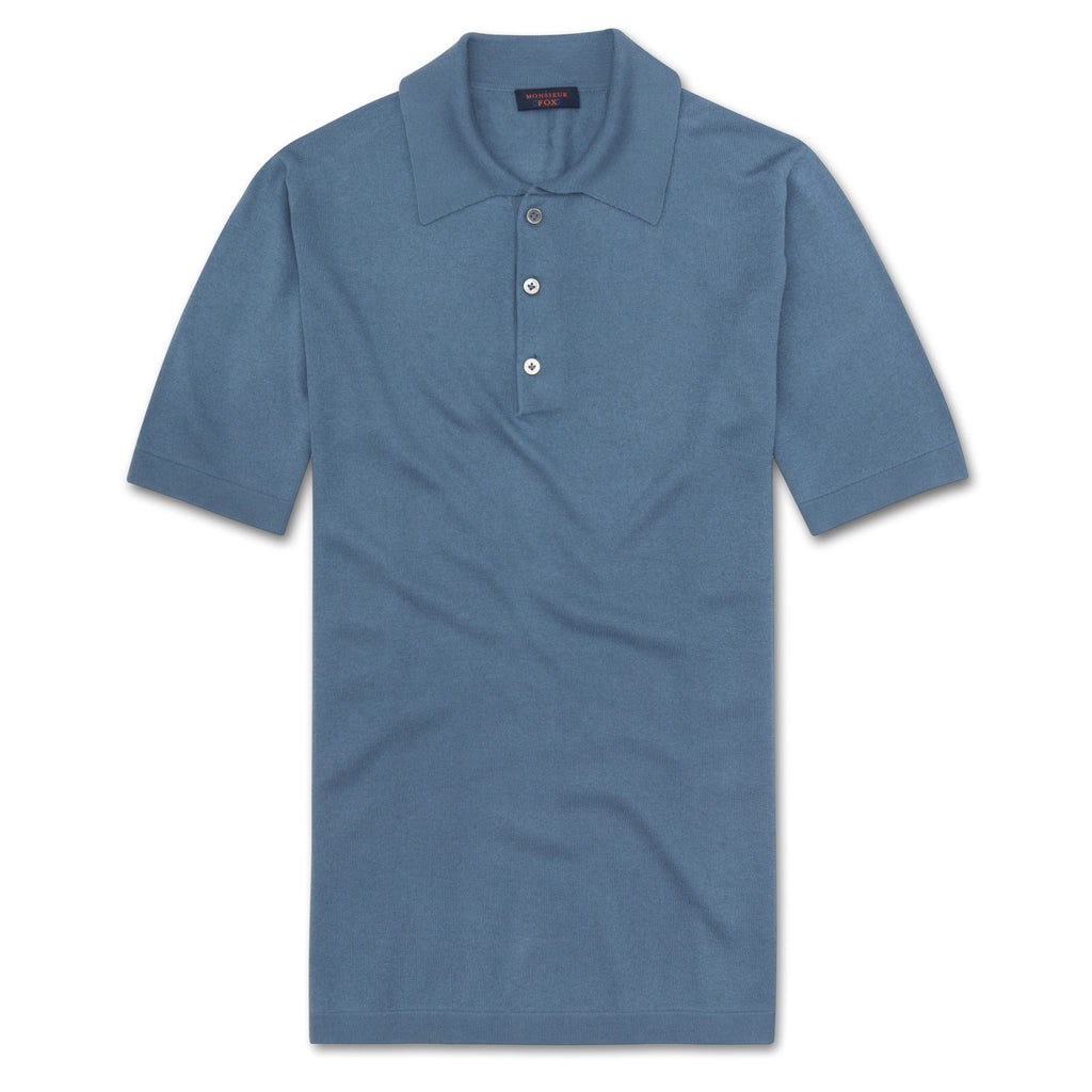Short Sleeve Polo - Denim