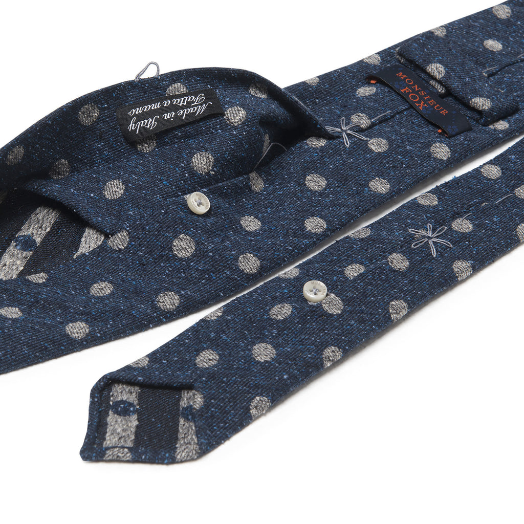 Wool Polka Dot Tie - Grey on Navy