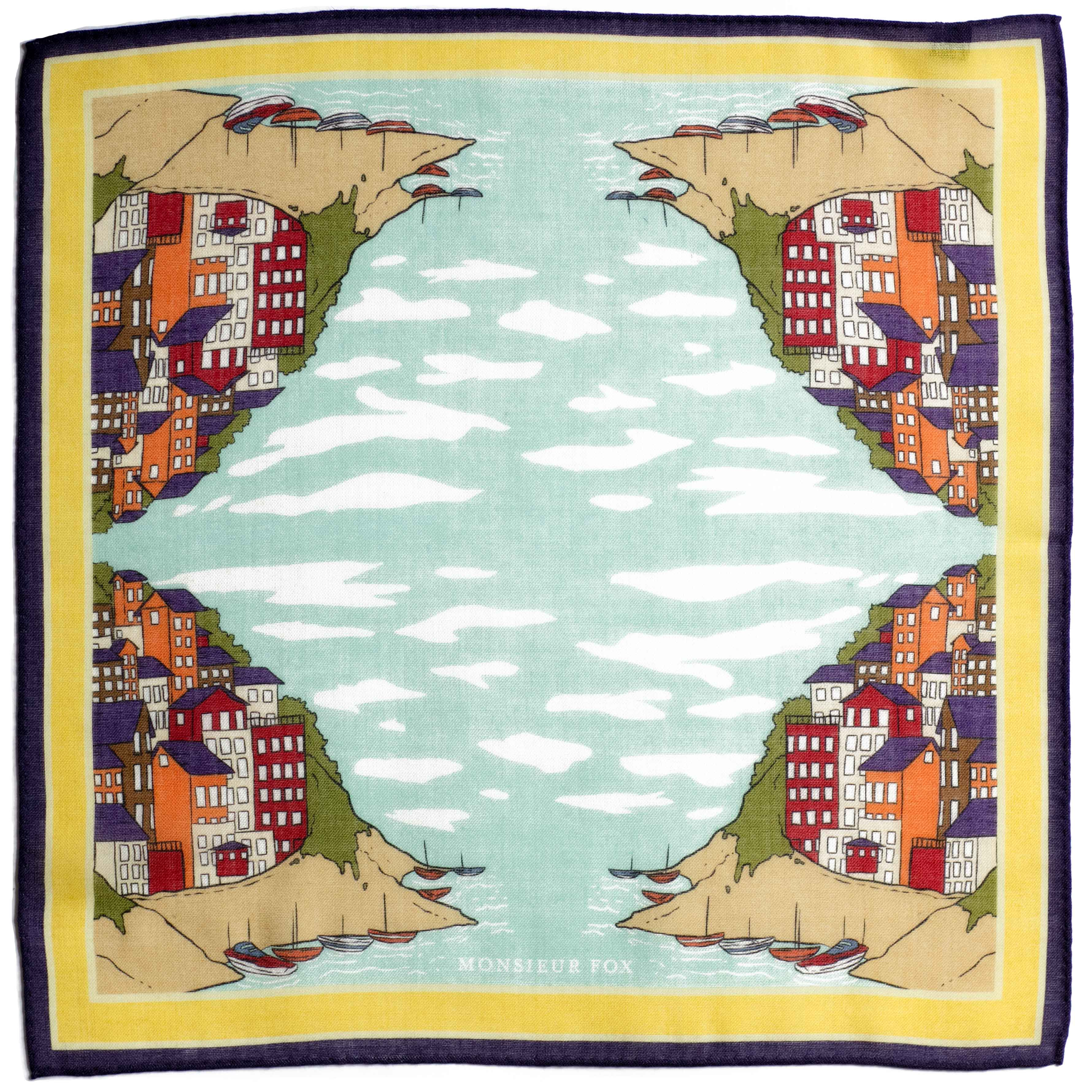 Positano Pocket Square - Sea Blue and Yellow