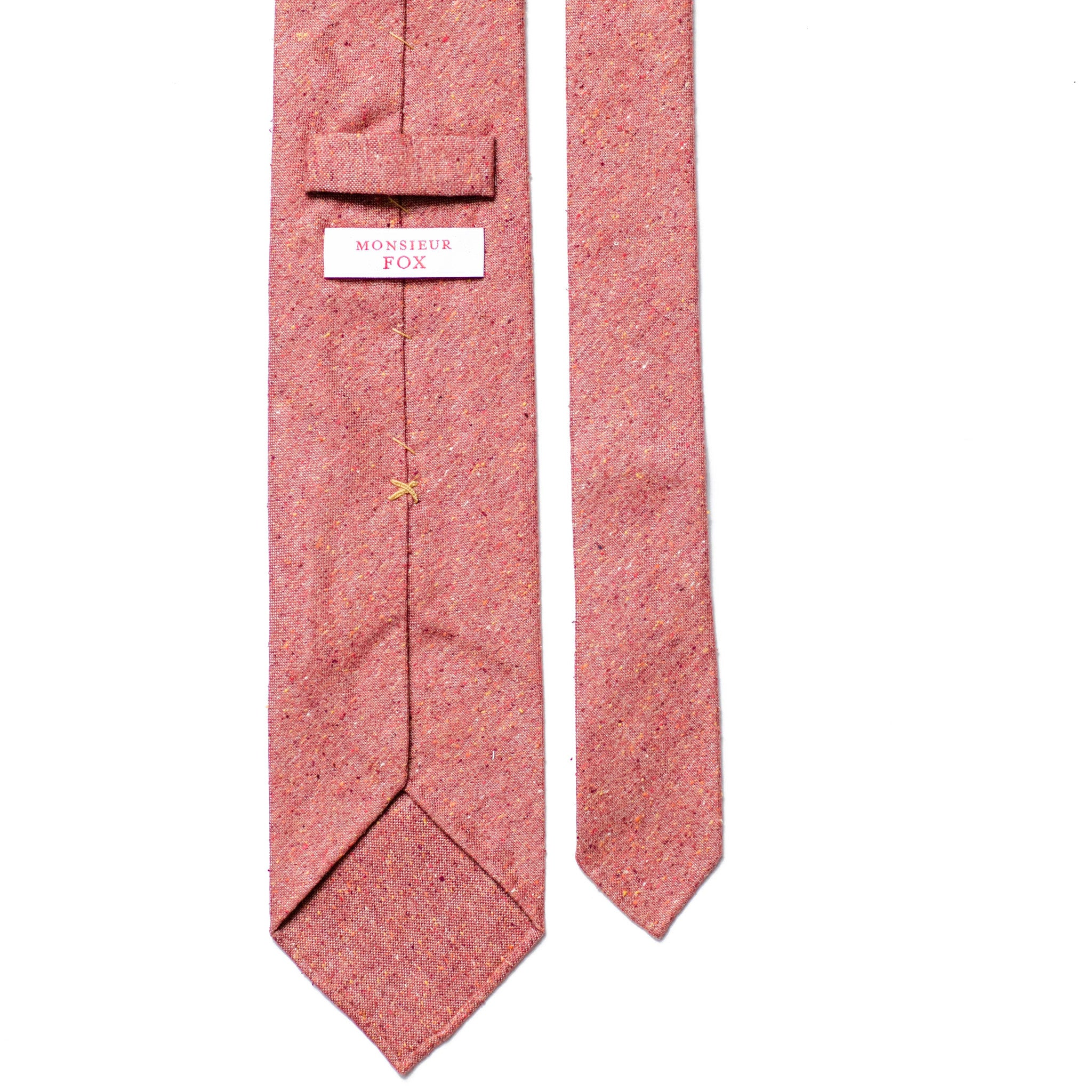 Speckled Brick Red Silk and Cotton Tie