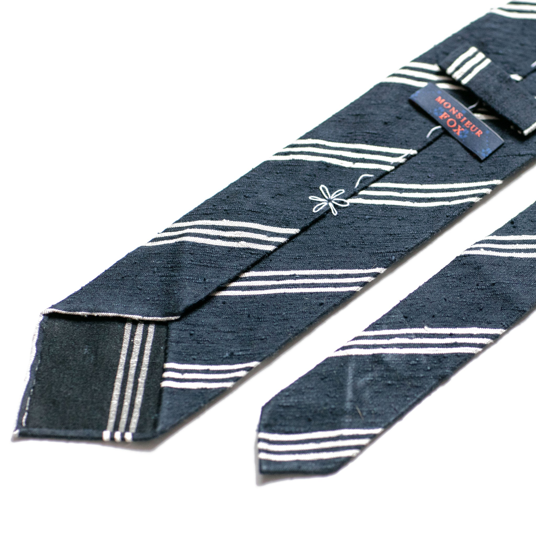 Striped Shantung - Navy and White Stripes