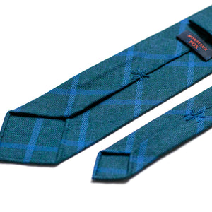 Draper's Windowpane Tie - Blue and Teal