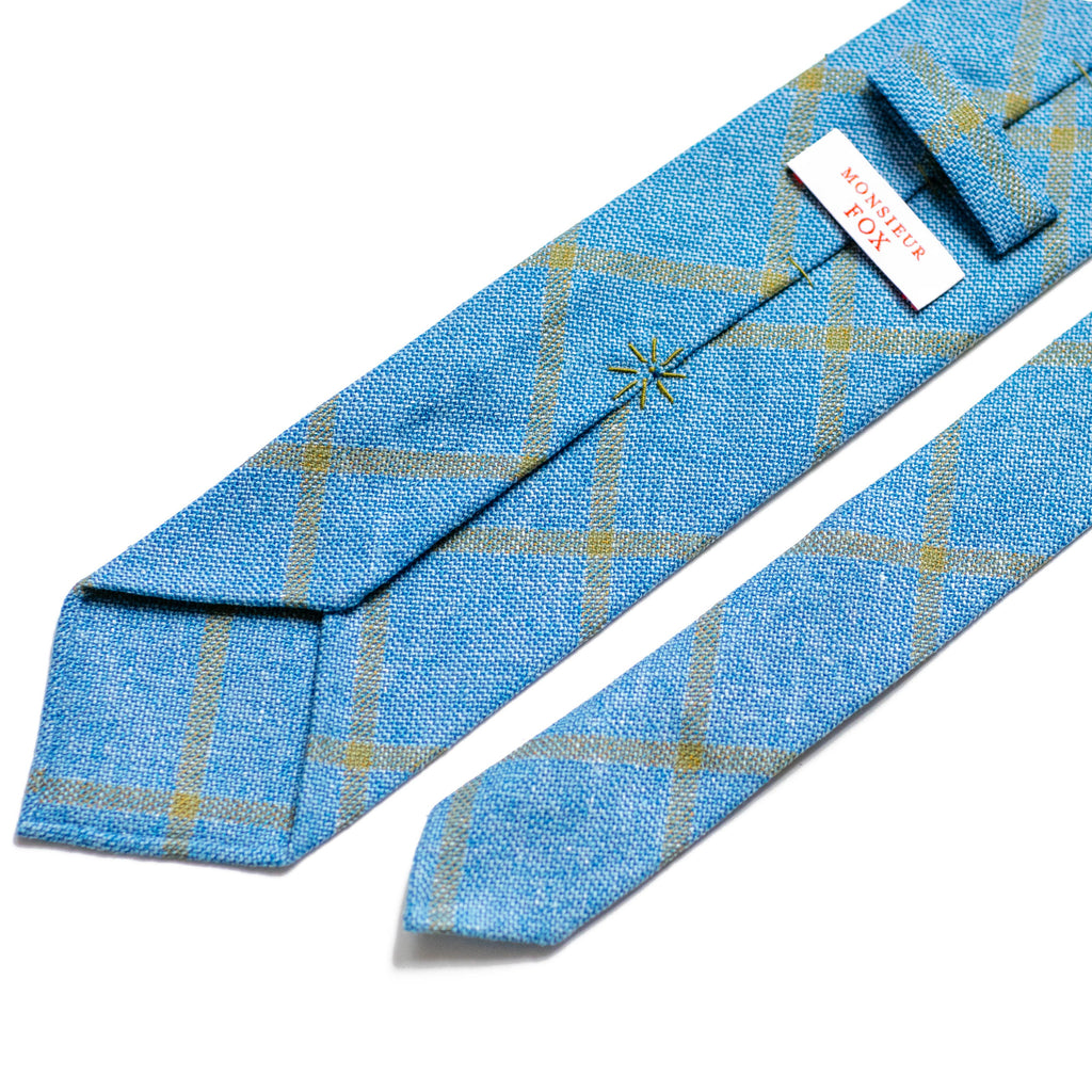 Draper's Windowpane Tie - Blue and Light Grey