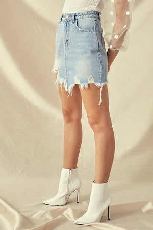 Indigo Distressed Mini Skirt